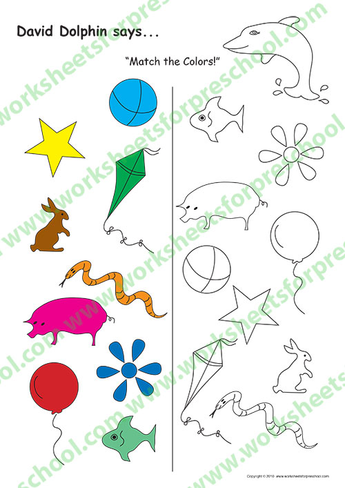 Worksheet colouring preschool