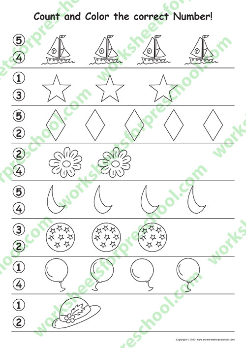 Number counting worksheets for preschoolers