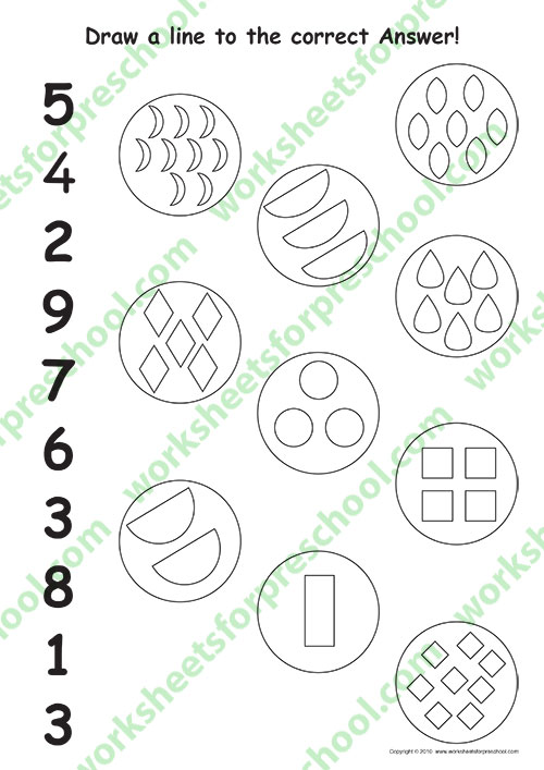 Worksheet on numbers for preschool