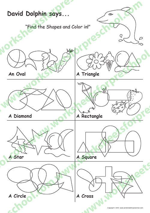 Preschool shapes worksheets