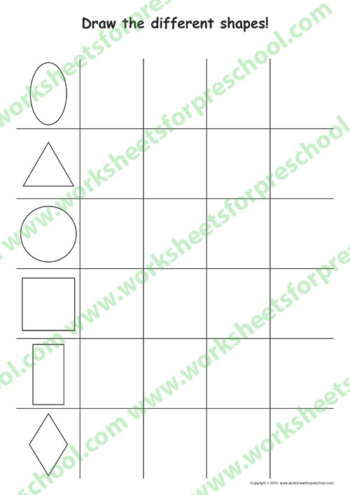 Shapes worksheet for Preschool